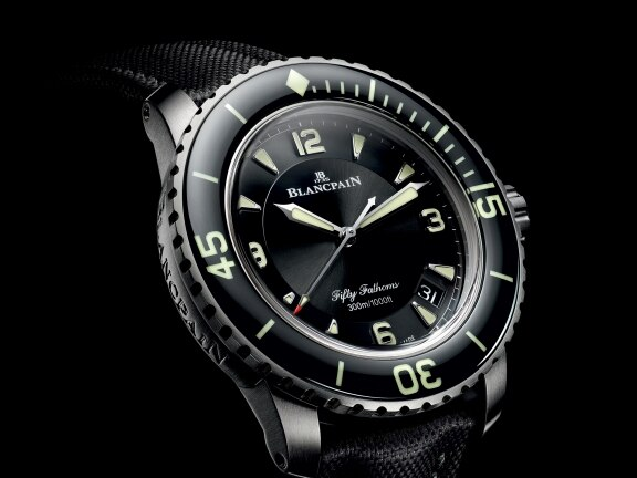 The icon of Blancpain's Fifty Fathoms collection appears in a new titanium version