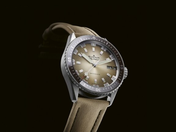 A desert-coloured Fifty Fathoms Bathyscaphe Day Date